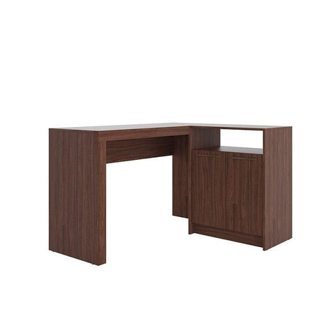 Manhattan Comfort Kalmar L -Shaped Office Desk with Inclusive in Dark Brown - Office Desks
