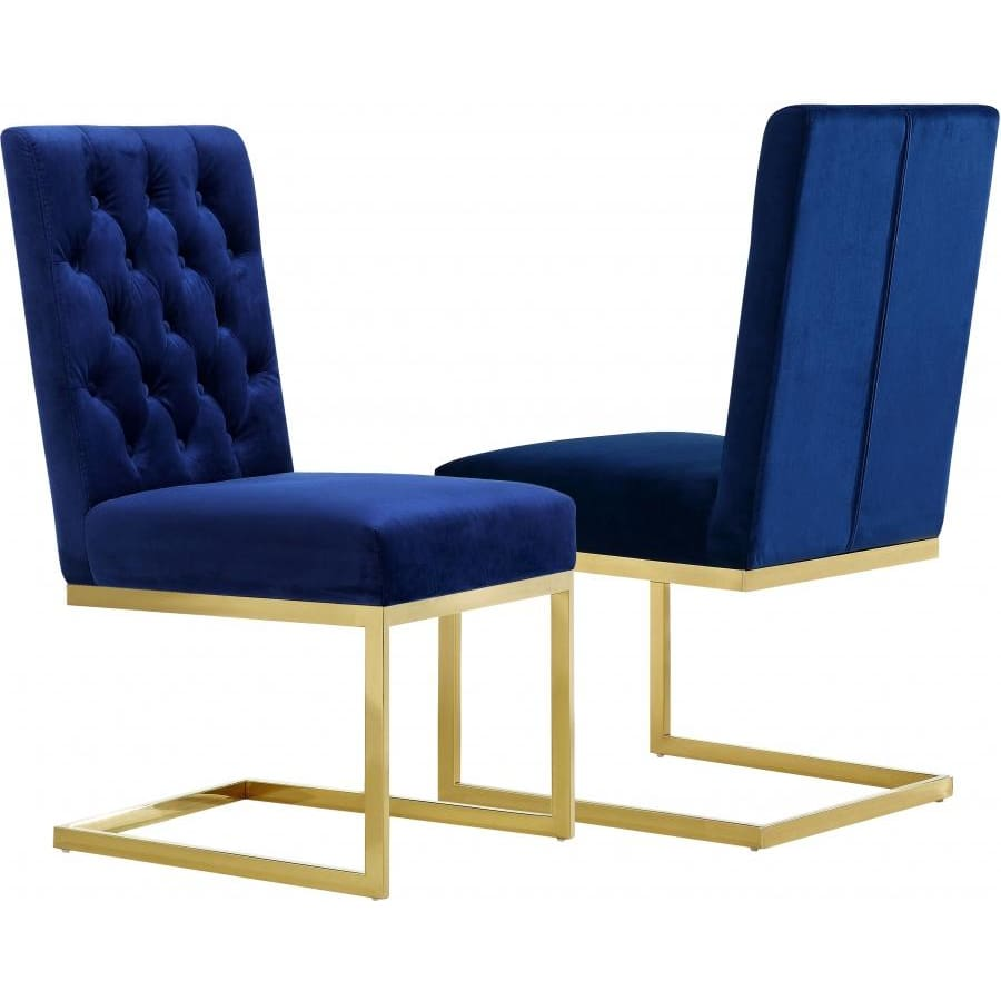 Meridian Furniture Cameron Velvet Dining Chair-Set of 2 - Navy - Dining Chairs