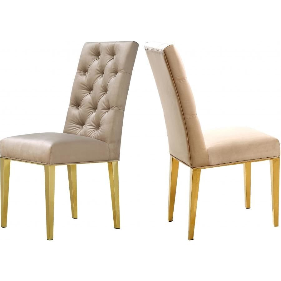 Meridian Furniture Capri Velvet Dining Chair-Set of 2 - Beige - Dining Chairs