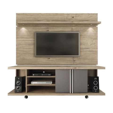 Manhattan Comfort Carnegie TV Stand and Park 1.8 Floating Wall TV Panel - Nature and Onyx - TV Stands