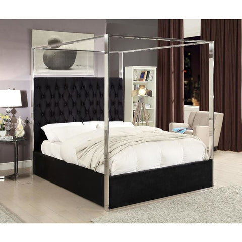 Meridian Furniture Porter Velvet Queen Bed - Black - Bedroom Beds