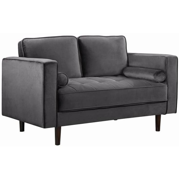 Meridian Furniture Emily Velvet Loveseat - Grey - Loveseats