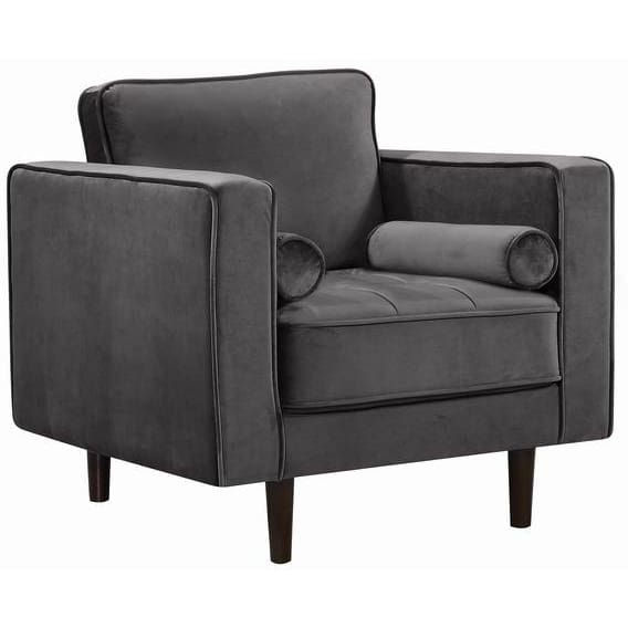 Meridian Furniture Emily Velvet Chair - Grey - Chairs