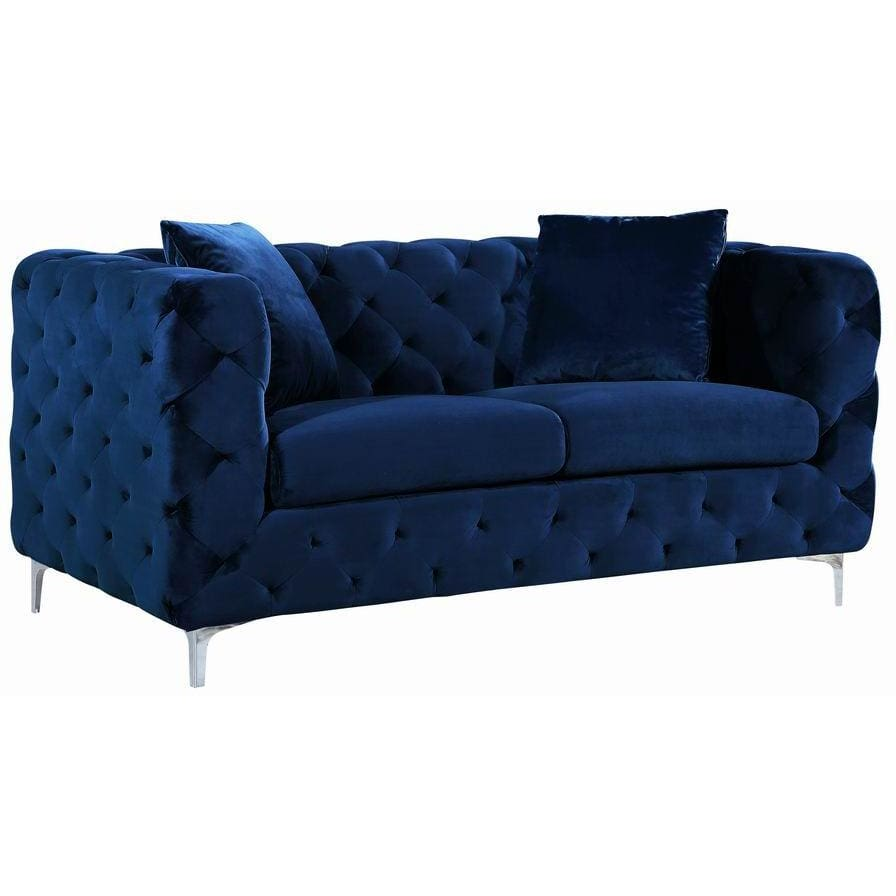 Meridian Furniture Scarlett Velvet Loveseat - Navy - Loveseats