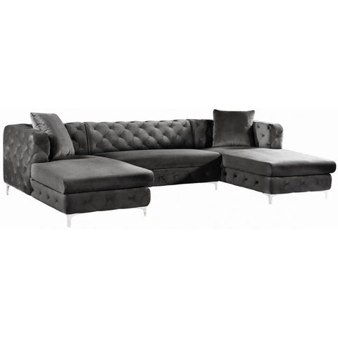 Meridian Furniture Gail Velvet 3pc. Sectional Sofa - Grey - Sofas