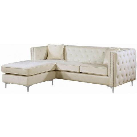 Meridian Furniture Jesse Velvet 2pc. Reversible Sectional Sofa - Cream - Sofas