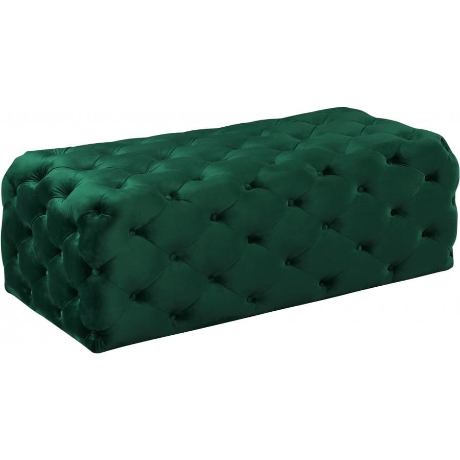 Meridian Furniture Casey Velvet Ottoman / Bench - Green - Benches