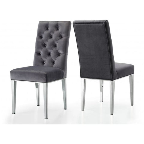Meridian Furniture Juno Navy Velvet Dining Chair-Set of 2 - Grey - Dining Chairs