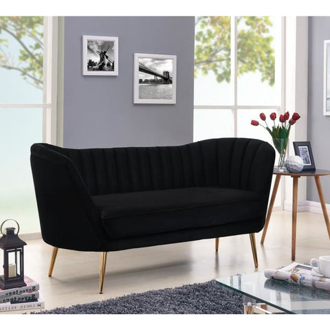 Meridian Furniture Margo Velvet Loveseat - Black - Loveseats