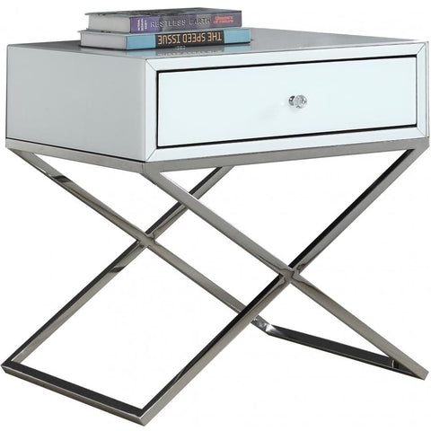 Meridian Furniture Lynn Side Chrome Table - White and Chrome - Other Tables