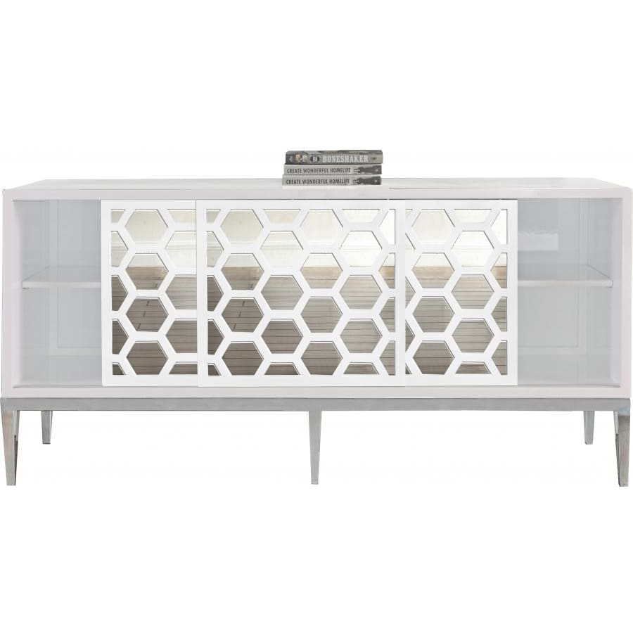 Meridian Furniture Silver White Zoey Sideboard/Buffet - Storage