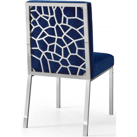Meridian Furniture Silver Opal Velvet Dining Chair-Set of 2 - Navy - Dining Chairs