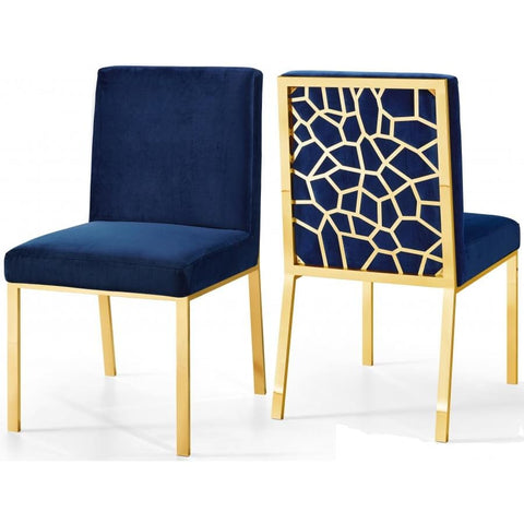 Meridian Furniture Gold Opal Velvet Dining Chair-Set of 2 - Navy - Dining Chairs