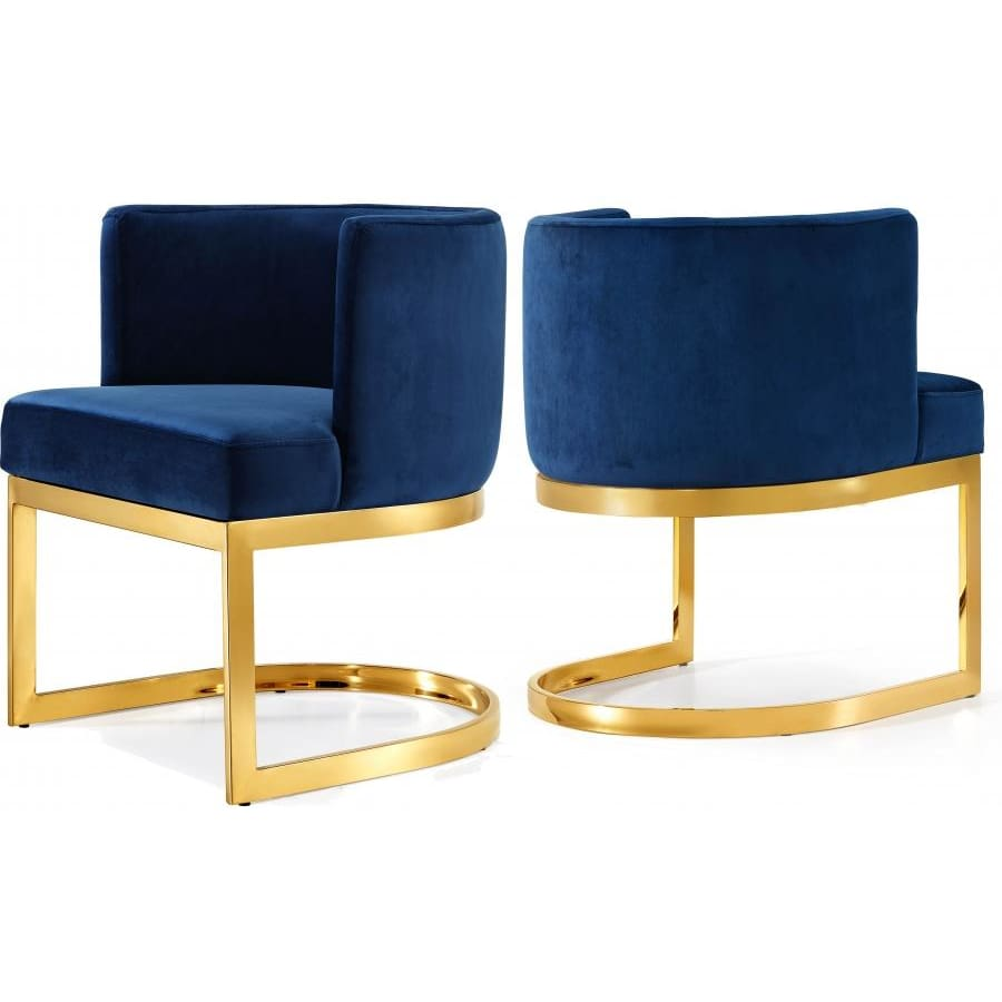 Meridian Furniture Gold Gianna Velvet Dining Chair - Navy - Dining Chairs