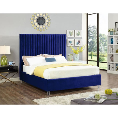 Meridian Furniture Candace Velvet Queen Bed - Navy - Bedroom Beds
