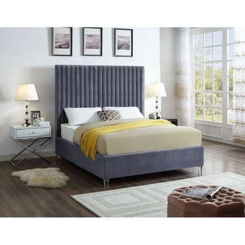 Meridian Furniture Candace Velvet Full Bed - Grey - Bedroom Beds