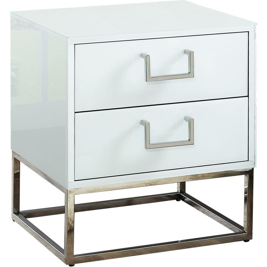 Meridian Furniture Silver White Nova Side Table - Other Tables
