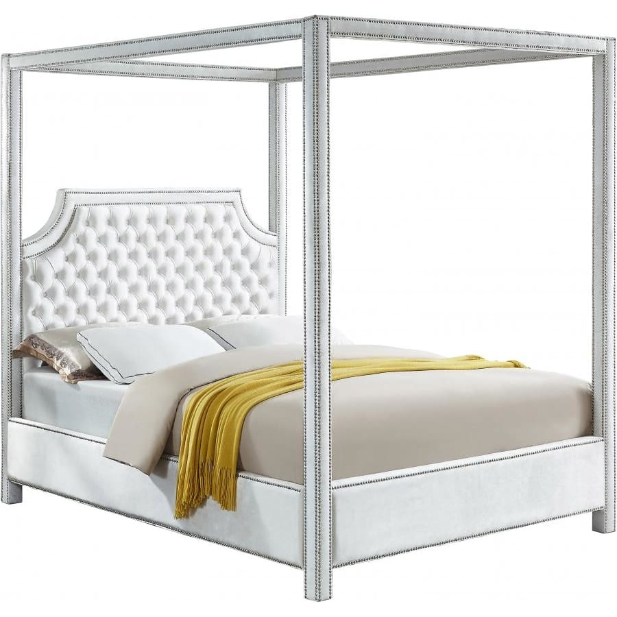 Meridian Furniture Rowan Velvet Queen Bed - White - Bedroom Beds