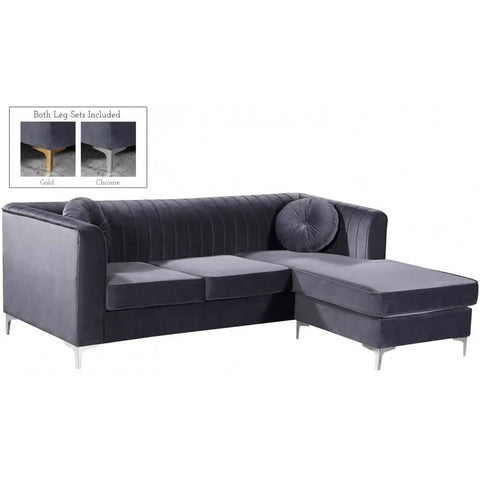 Meridian Furniture Eliana Velvet Reversible 2pc. Sectional - Grey - Sofas