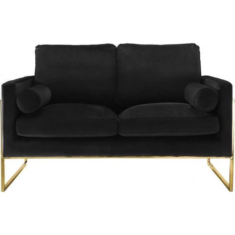 Meridian Furniture Mila Velvet Loveseat - Black - Loveseats