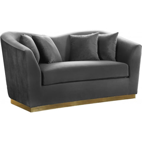 Meridian Furniture Arabella Velvet Loveseat - Grey - Loveseats
