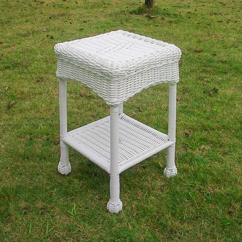 International Caravan Small PVC Resin Side Table - White - Outdoor Furniture