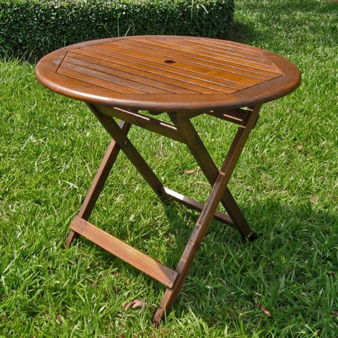 International Caravan 32 Round Folding Table with Straight Legs - Outdoor Furniture