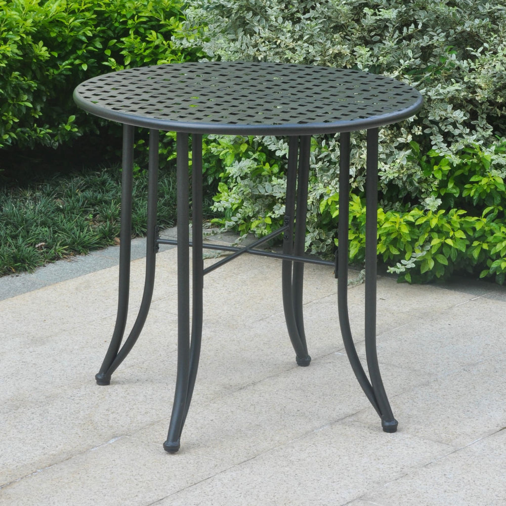 International Caravan Mandalay Iron Patio Bistro Table - Antique Black - Outdoor Furniture