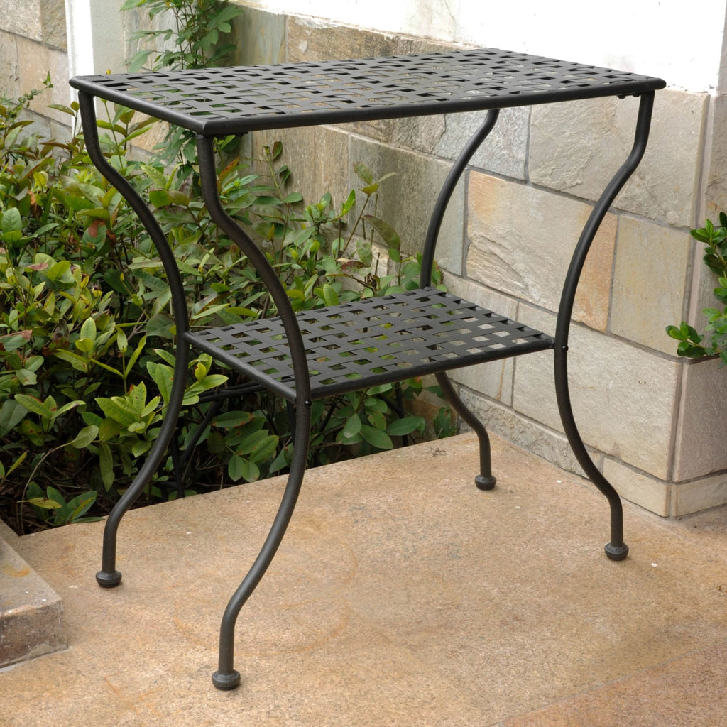 International Caravan Mandalay Iron Rectangular 2 Tier Table - Antique Black - Outdoor Furniture