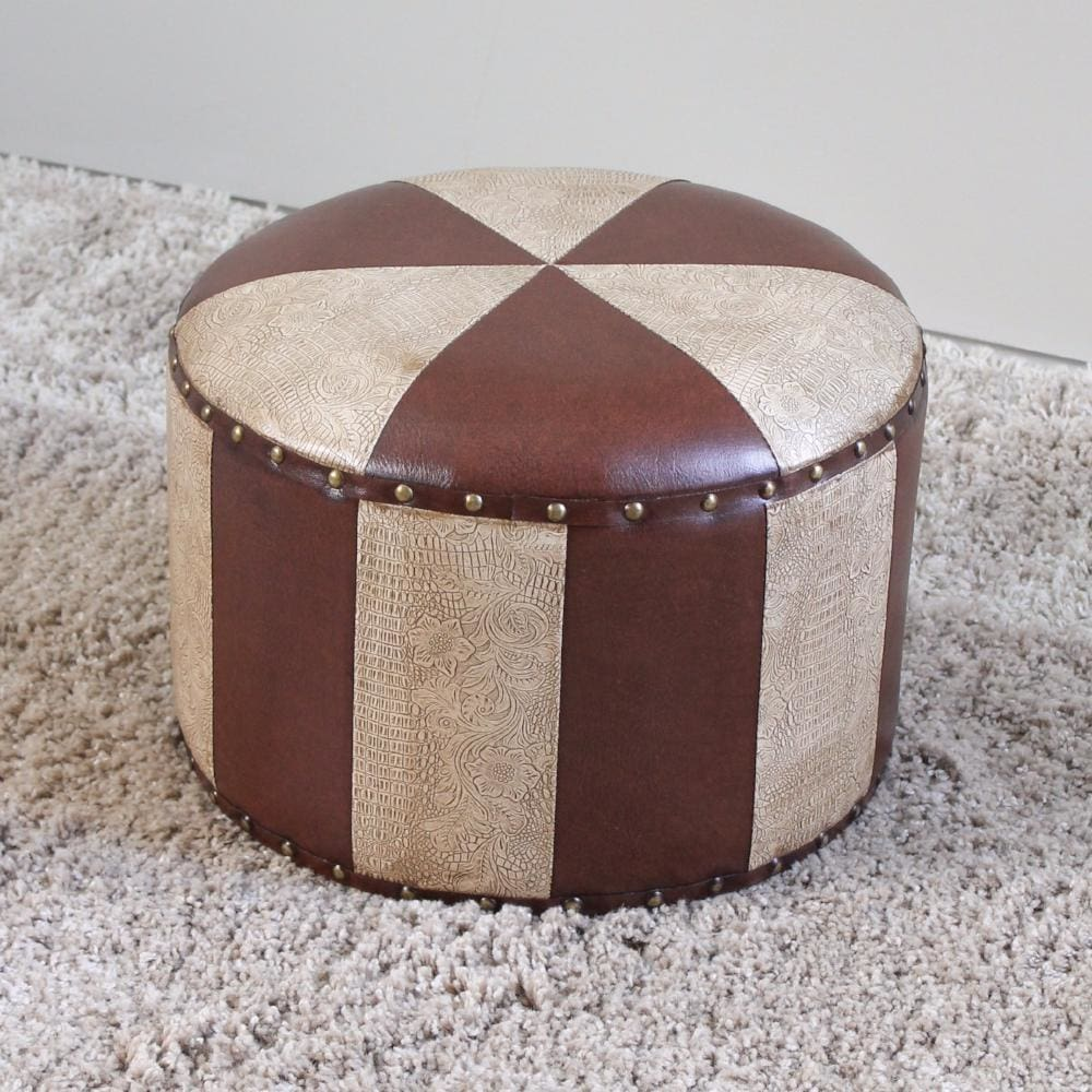 International Caravan Mini Round Faux Leather Stool - Mixed Patch Work - Stools