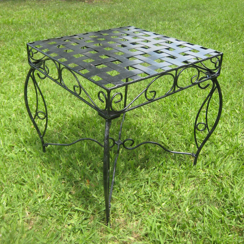 International Caravan Mandalay Iron Square Side Table - Outdoor Furniture
