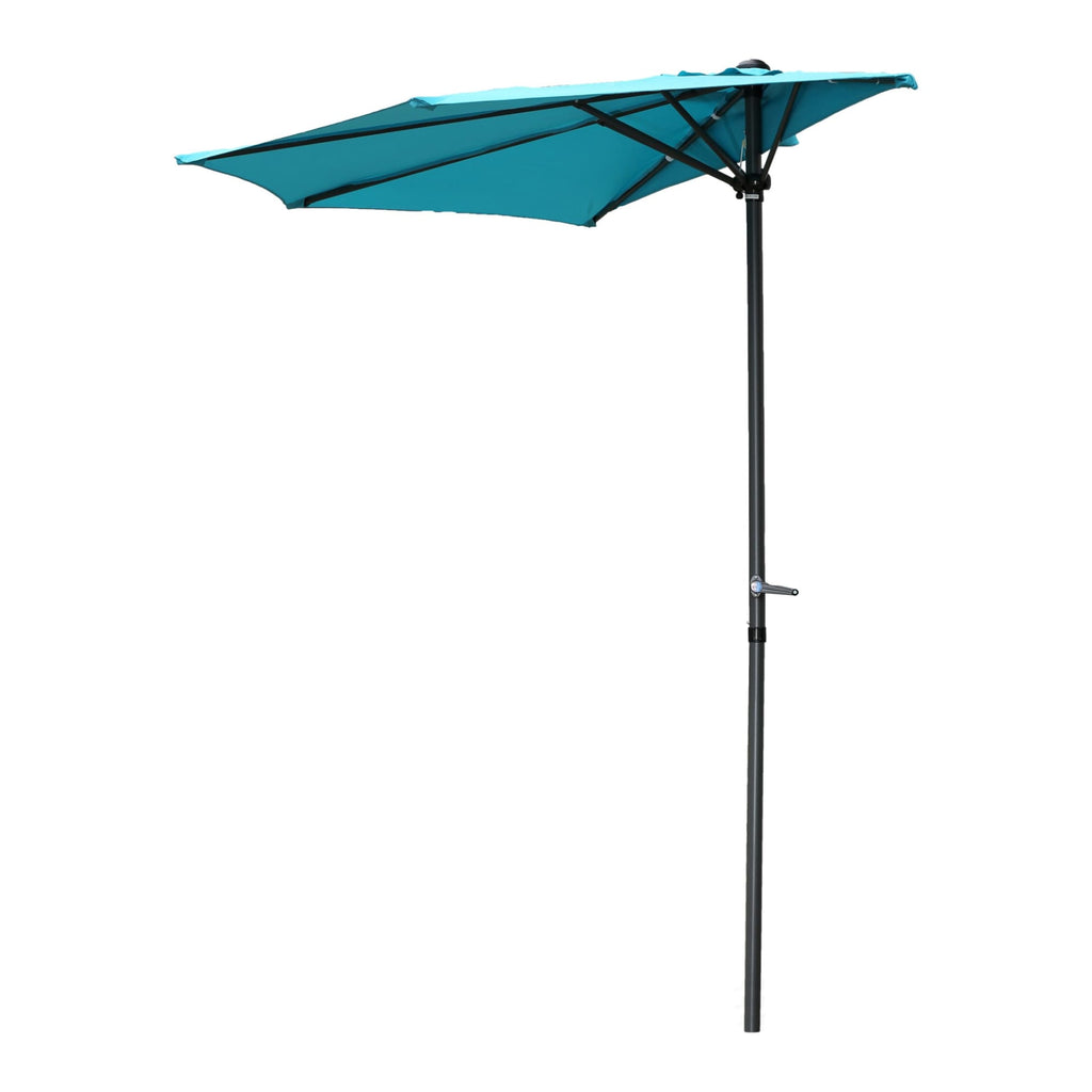 International Caravan 9-Foot Half Round Wall Hugger Umbrella - Aqua Blue - Outdoor Furniture