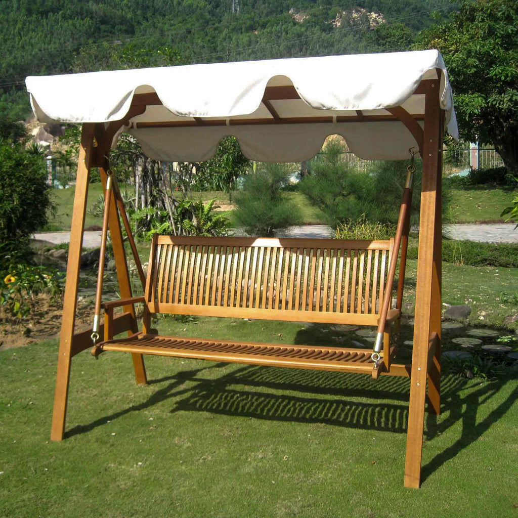International Caravan Royal Tahiti 3 Seater Swing with A-Frame and Canopy - Outdoor Furniture