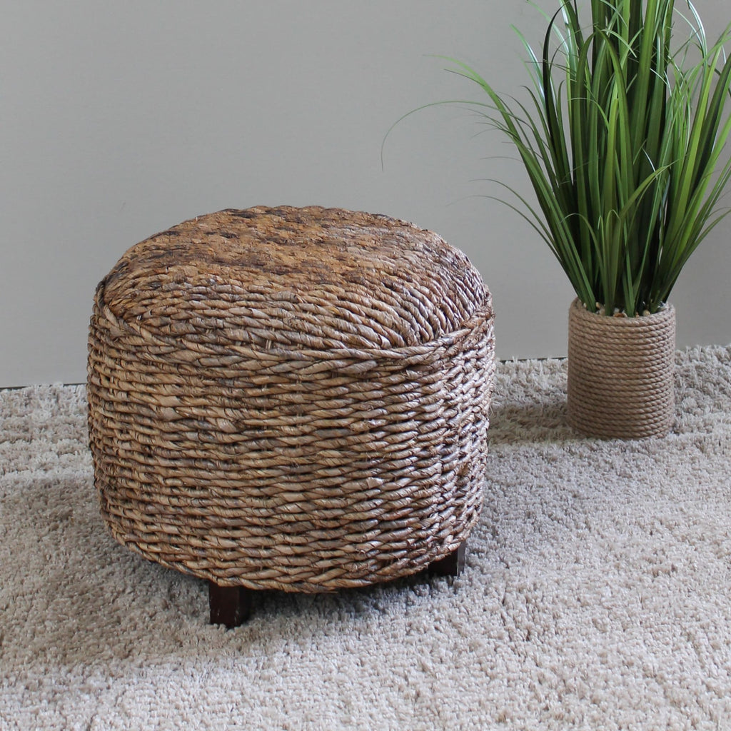 International Caravan Arizona Abaca Round Cushioned Top Stool - Ottomans