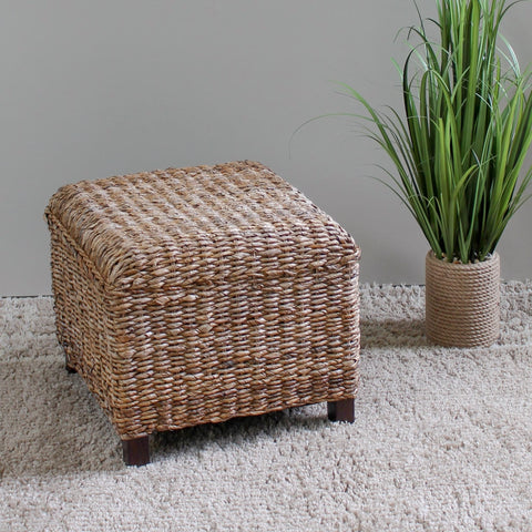 International Caravan Arizona Abaca Square Cushioned Top Stool - Ottomans