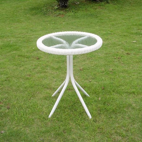 International Caravan Outdoor Resin Wicker and Glass-top Bistro Table - White - Outdoor Furniture