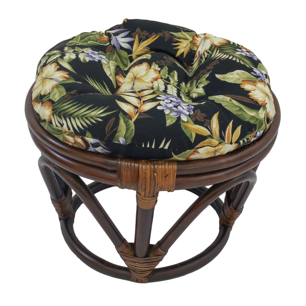 International Caravan Rattan Ottoman with Outdoor Fabric Cushion - Freeport Ebony - Ottomans