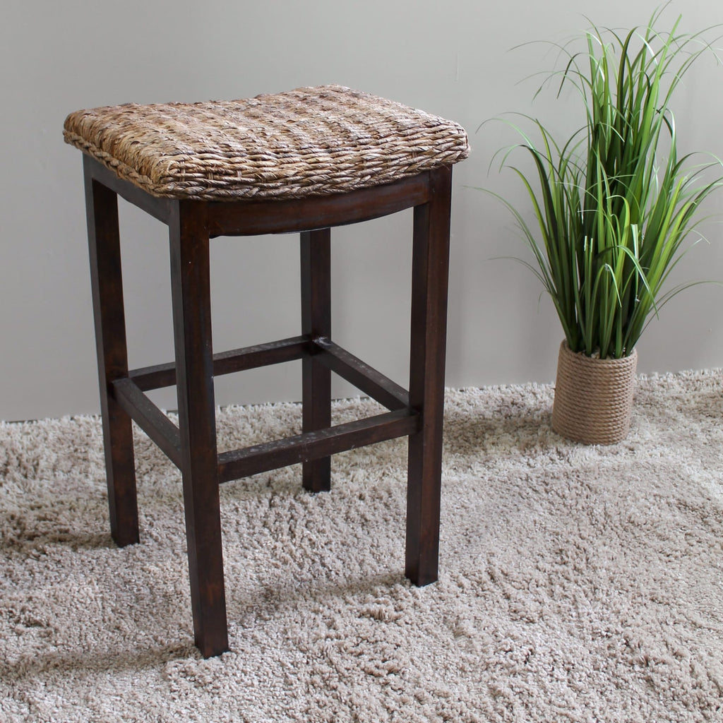 International Caravan Arizona Abaca Cushioned Saddle Seat Bar Stool - Stools