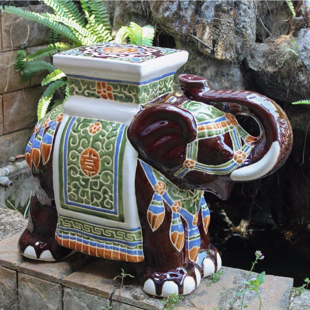 International Caravan Large Porcelain Elephant Stool - Brown Mix - Outdoor Furniture