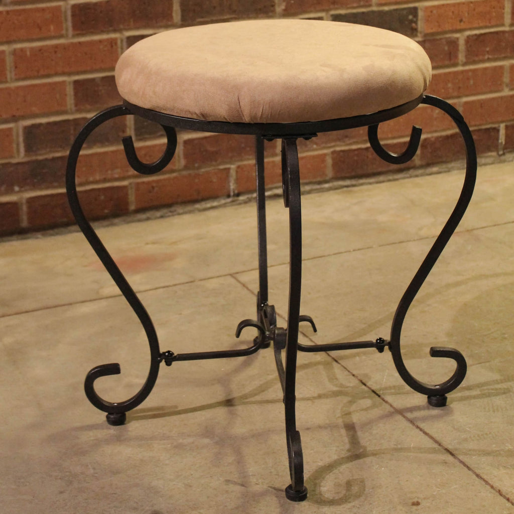 International Caravan Round Iron Vanity Stool with Cushion - Java - Stools