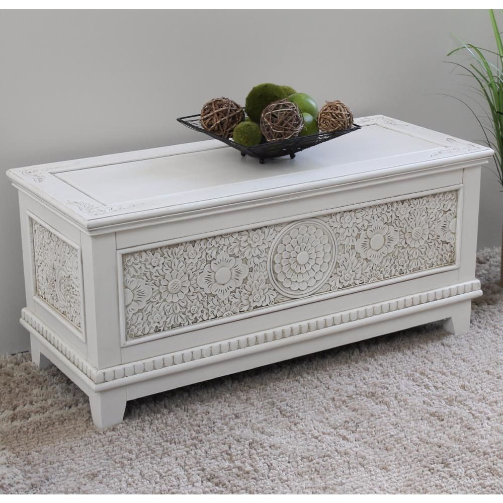 International Caravan Windsor Carved Wood Trunk - Antique White - Other Tables