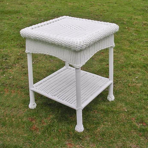 International Caravan PVC Resin and Steel Outdoor Side Table - White - Outdoor Furniture