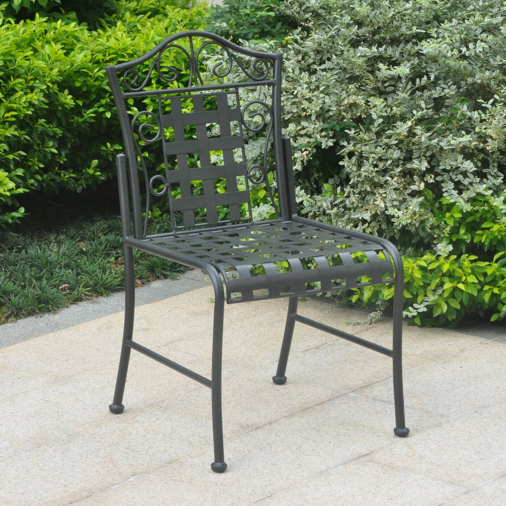 International Caravan Mandalay Iron Patio Set of 2 Bistro Chairs - Antique Black - Outdoor Furniture
