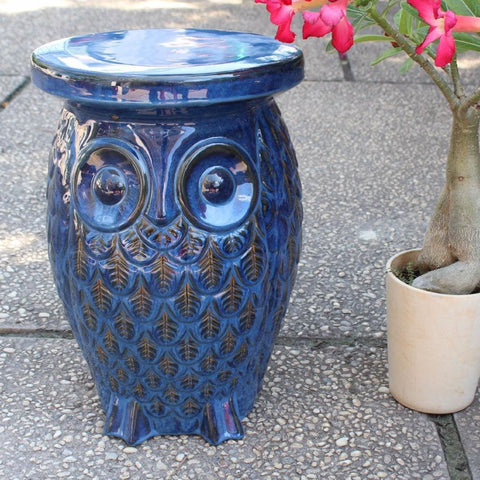 International Caravan Wise Old Owl Ceramic Garden Stool - Navy Blue Glaze - Outdoor Furniture