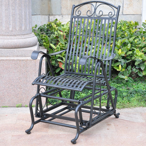 International Caravan Mandalay Iron Glider - Antique Black - Outdoor Furniture