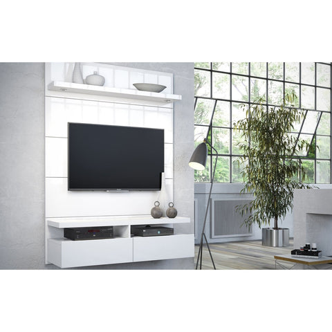 Manhattan Comfort Cabrini 1.2 Floating Wall Theater Entertainment Center - White Gloss - TV Stands