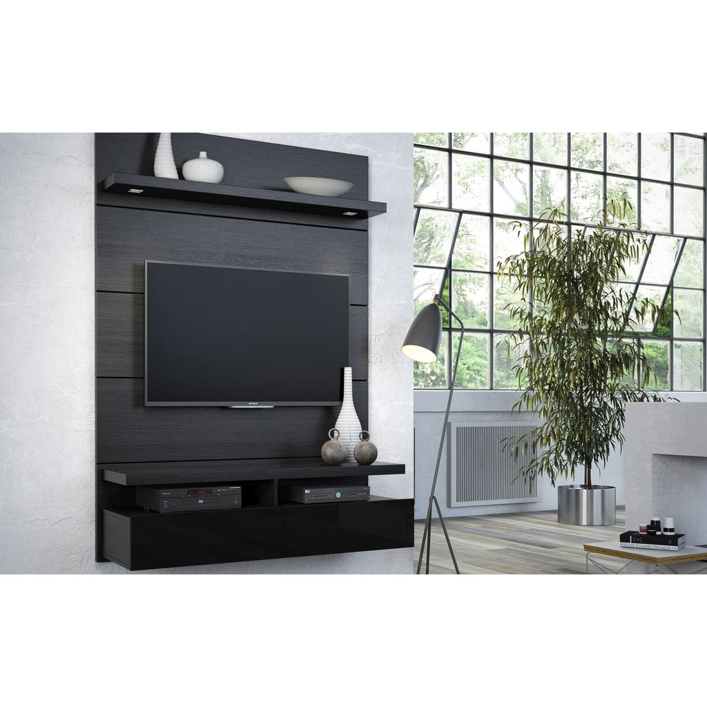Manhattan Comfort Cabrini 1.2 Floating Wall Theater Entertainment Center - Black Gloss and Black Matte - TV Stands