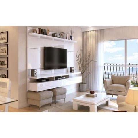 Manhattan Comfort City 2.2 Floating Wall Theater Entertainment Center - Maple Cream and Off White - TV Stands