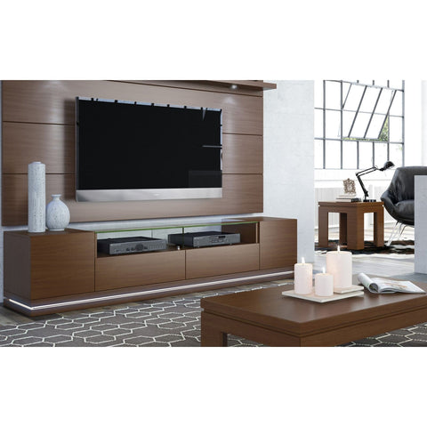 Manhattan Comfort Vanderbilt TV Stand and Cabrini 2.2 Floating Wall TV Panel with LED Lights - White Gloss - TV Stands