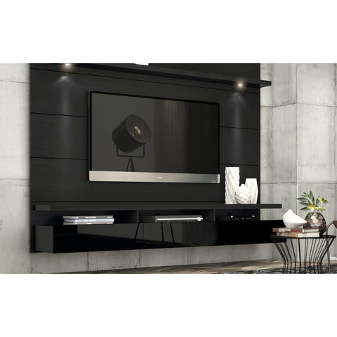 Manhattan Comfort Cabrini 2.2 Floating Wall Theater Entertainment Center - Black Gloss and Black Matte - TV Stands